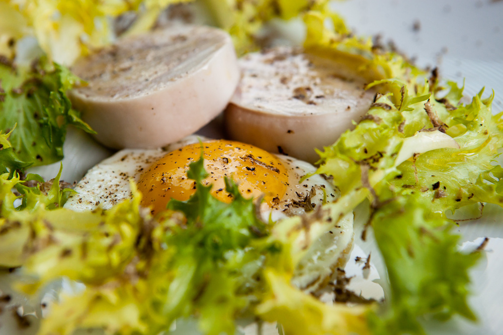 Truffled eggs and terrine
