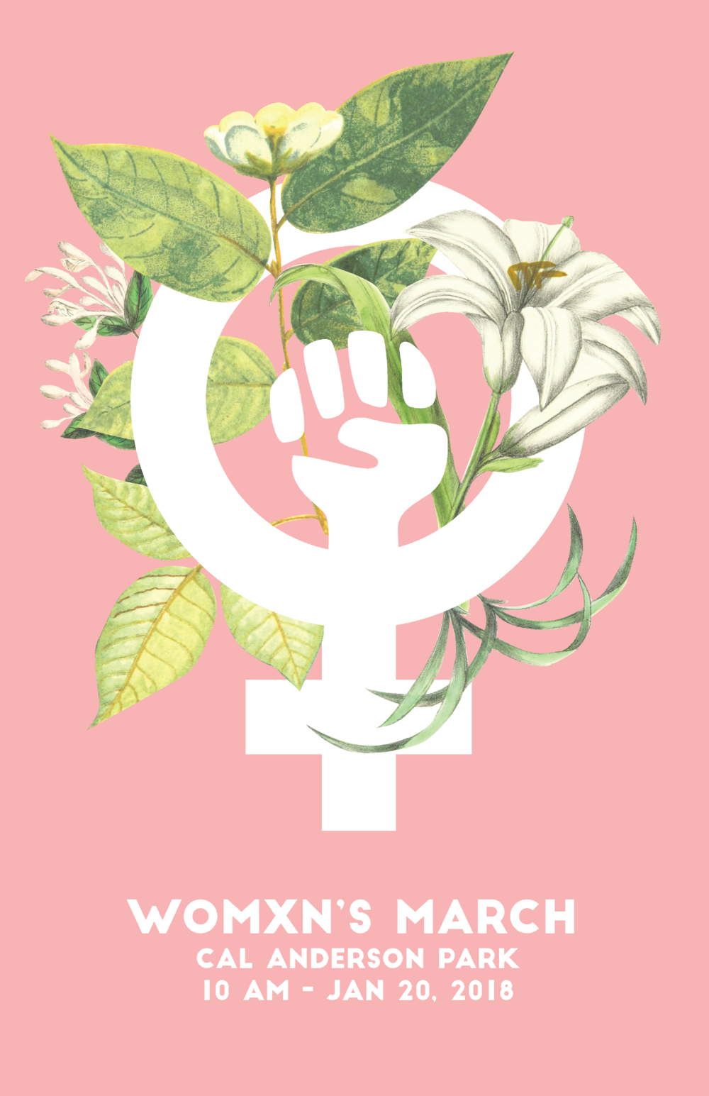 Promotional poster for Seattle's 2018 Womxn's March as part of a pro-bono promotional campaign at Northwest Polite Society.