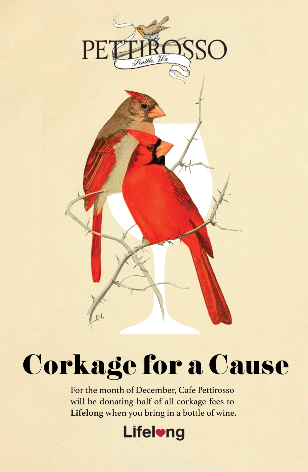 Promotional poster & web graphic commissioned for  Cafe Pettirosso 's wine promotion in collaboration with the non-profit organization Lifelong. Bird illustration sourced from The British Library's online public collection for a vintage style design to match the restaurant's logo.