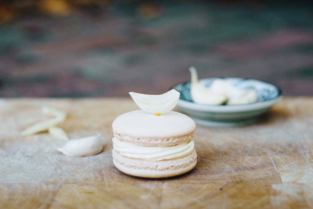 Garlic pear macarons for Whip Patisserie