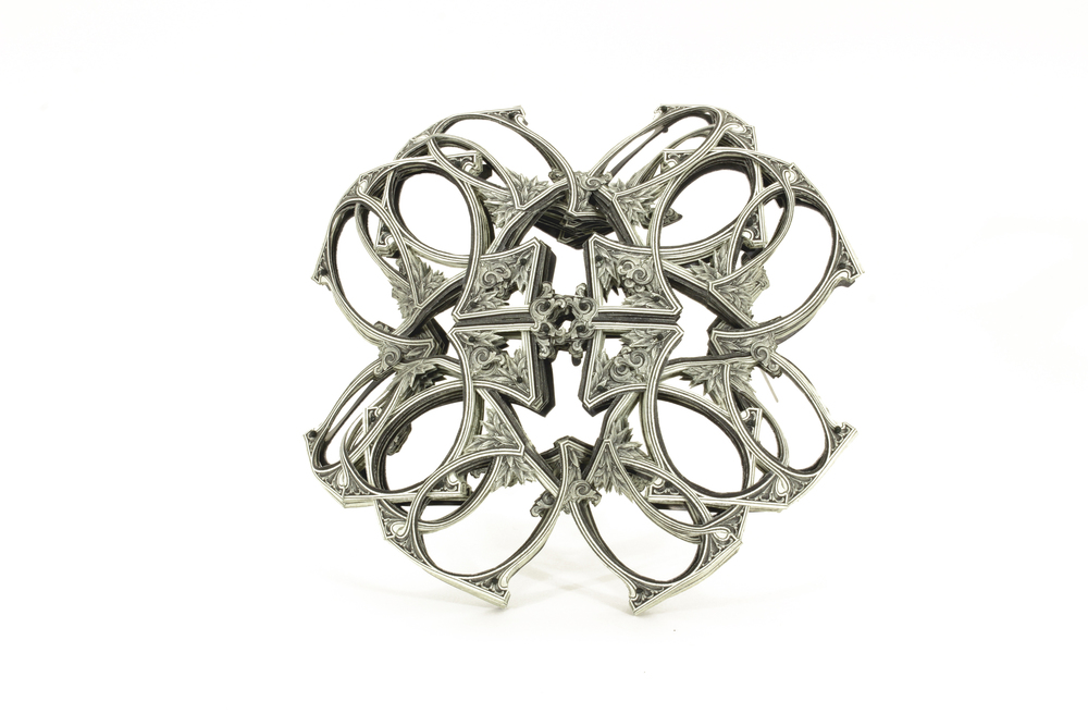 $160.00 US Currency Converted   |  Brooch  |  US Dollars, Silver, Monofilament, and Surgical Steel  |  2015  |  Private Collection  |  1/1