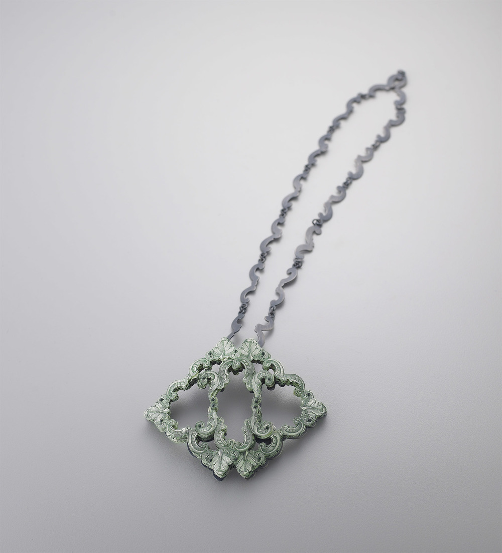 $46.00 Currency Converted   |  Pendant  |  US Currency, Silver, Latex, and Monofilament  |  2013  |  Photo Credit Munch Studio  |  1/1