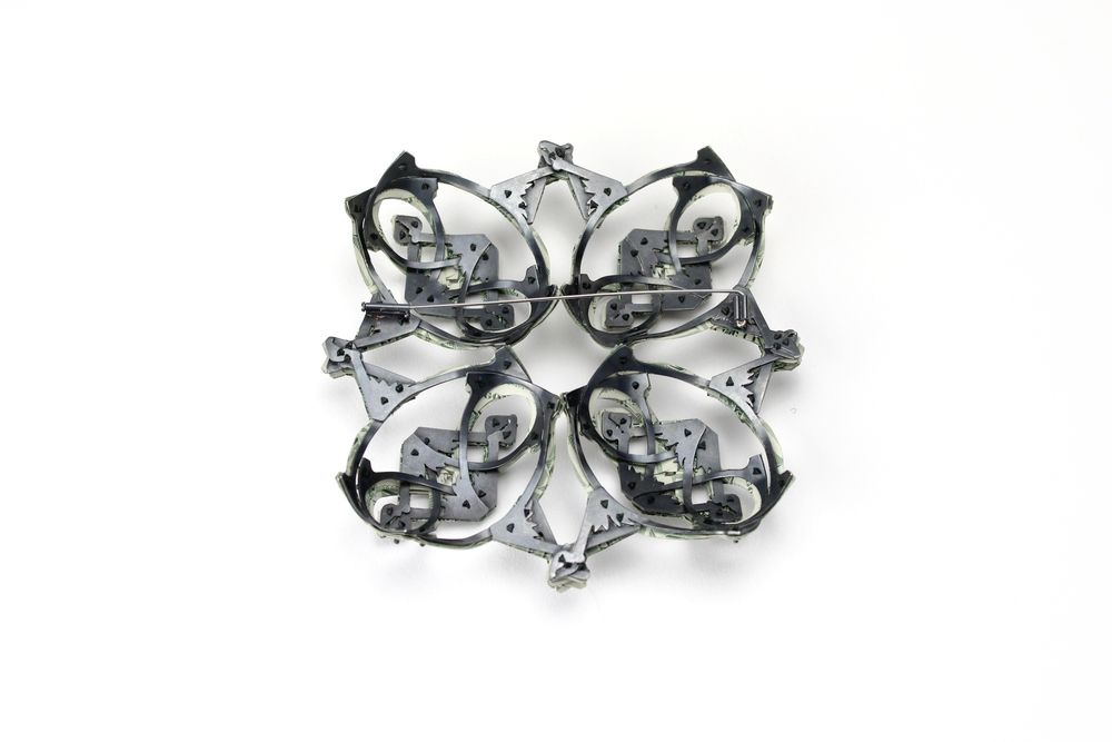 $120.00 Currency Converted   |  Brooch Backside  |  US Dollars, Silver, Monofilament, and Surgical Steel  |  2015  |  1/1