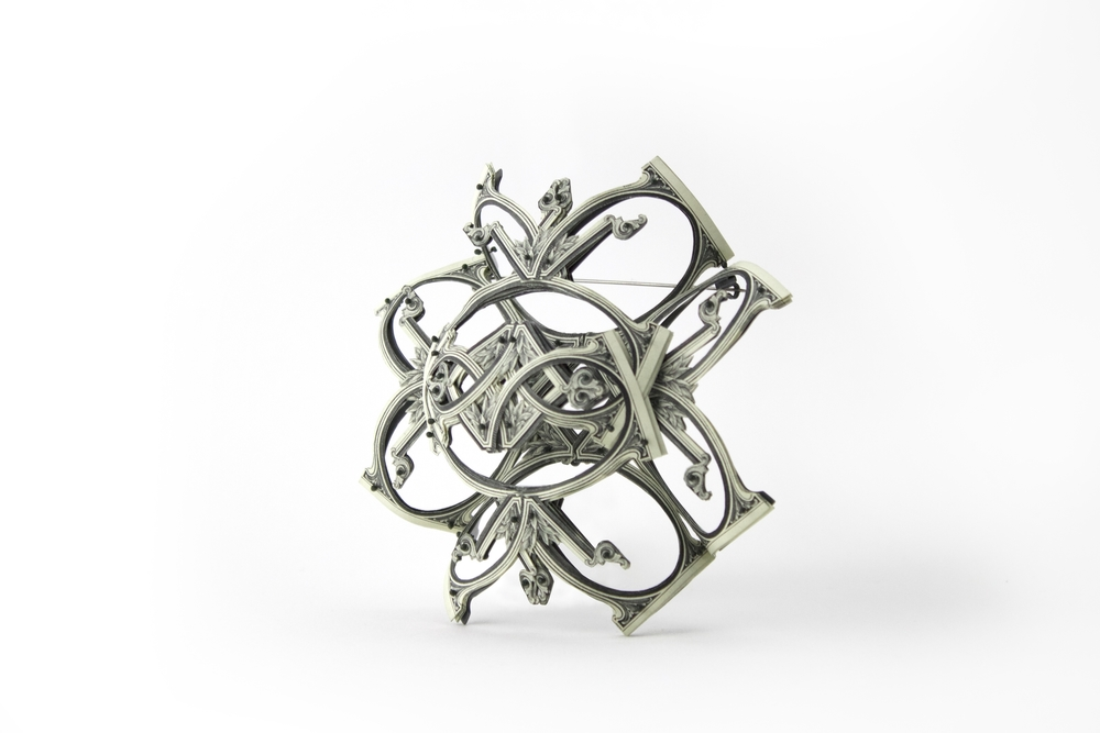 $97.00 Currency Converted   |  Brooch Side View |  US Dollars, Silver, Monofilament, and Surgical Steel  |  2016  |  1/1