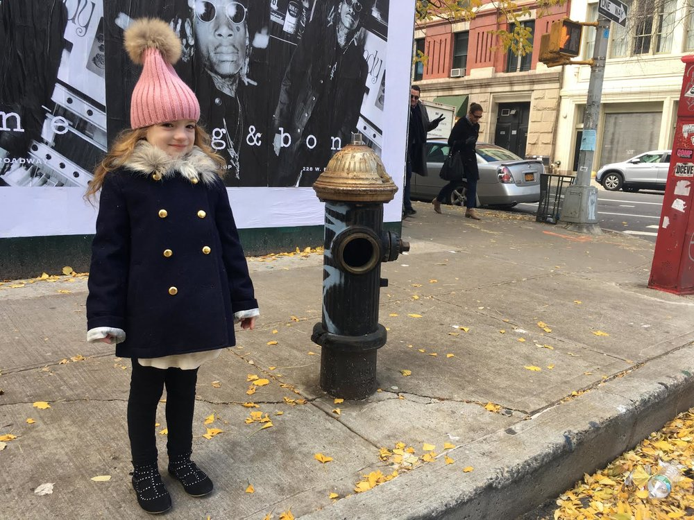 Ph: Honor on the streets of Tribeca, wearing Crewcuts coat
