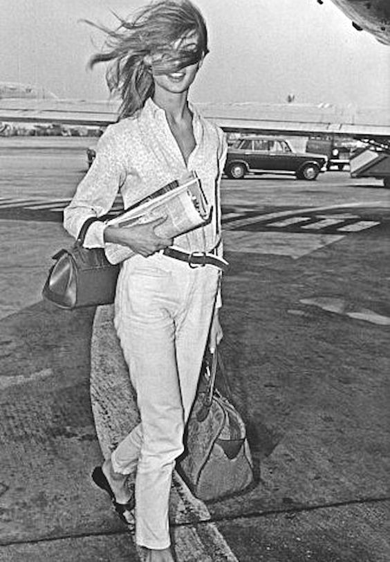Ph: Jean Shrimpton, at Heathrow Airport 1965 Photograph Rue de Archives