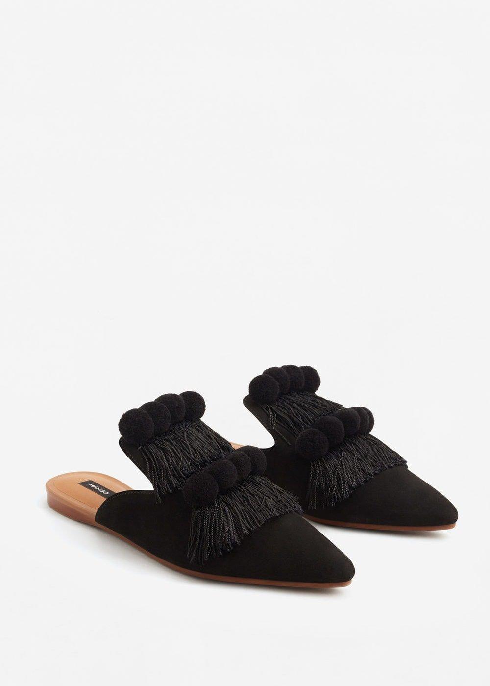 Ph: Mango, Fringed Leather Slide