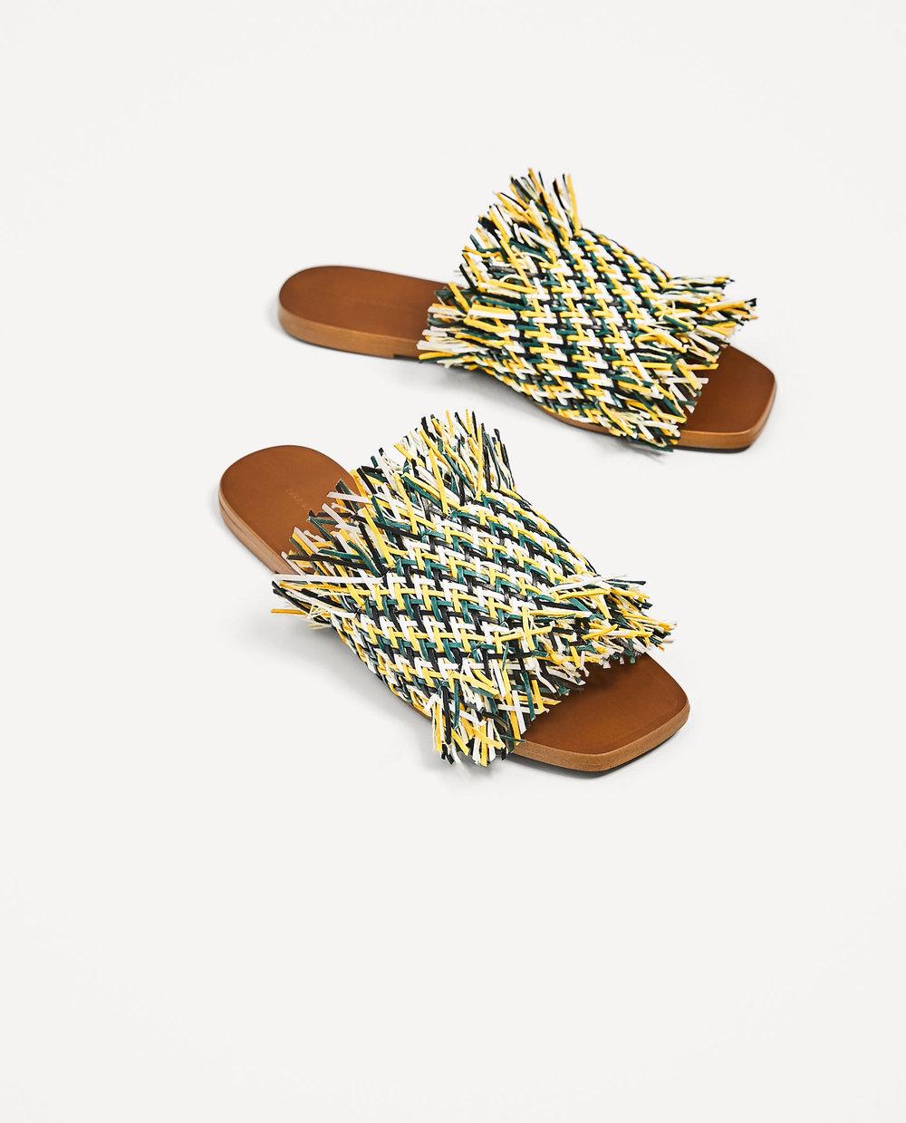 Ph: Zara, Multicolored Flat Braided Slides