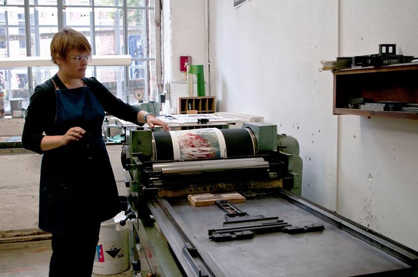 Printing at carpe plumbum, Leipzig, Germany, 2015.  Photo: carpe plumbum