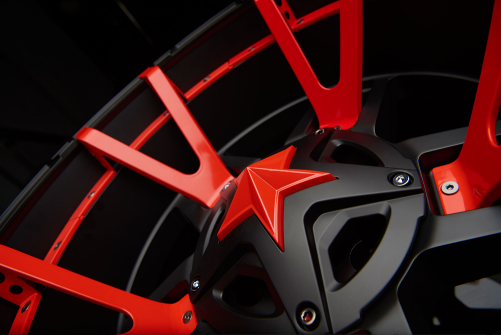 KMC Rockstar 3 Matte Black Split Spoke Detail Red