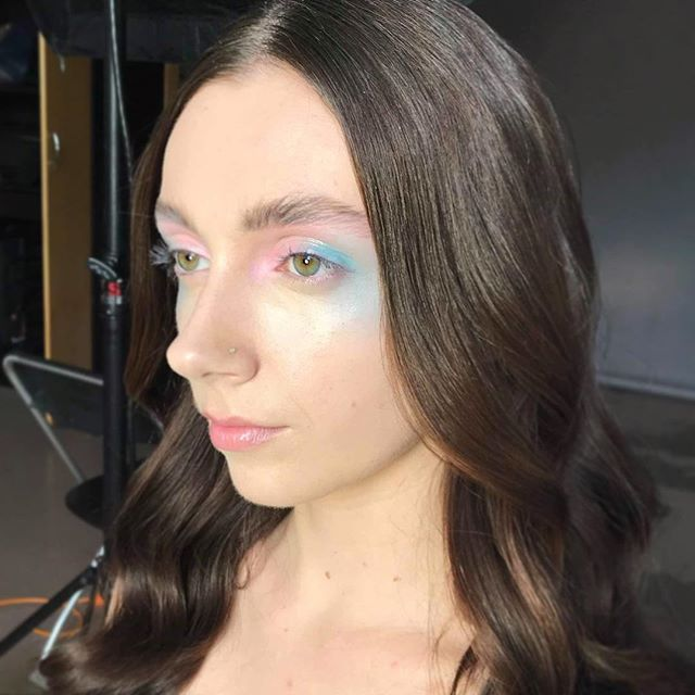 """I call this look """"goody gumdrops ice cream on a hot day"""" 🍦🍭🍦🍭 final look of the day with @aaronkphoto and @courtneyarmourxo  P R O D U C T S #wetnwildbeauty Pastel Paint Palette (first time I've ever bought anything from them v impressed with this palette) #makeupforever Flash Palette Wet n Wild MegaSlicks Lipgloss in Crystal Clear (also liked this a lot) #Nars Sheer Glow Foundation #SUQQU Pure Colour Blush in 06 #Rimmel Scandeyes Mascara #senna Brow Palette"""