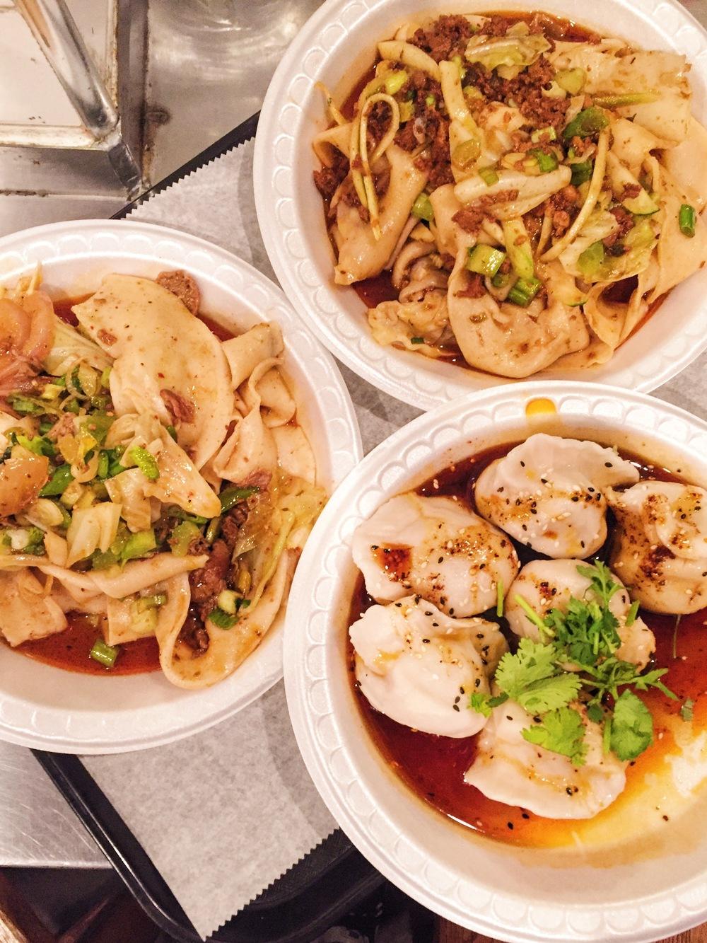 Spicy lamb noodles, spicy pork noodles, beef/pork dumplings at Xian's Famous Foods