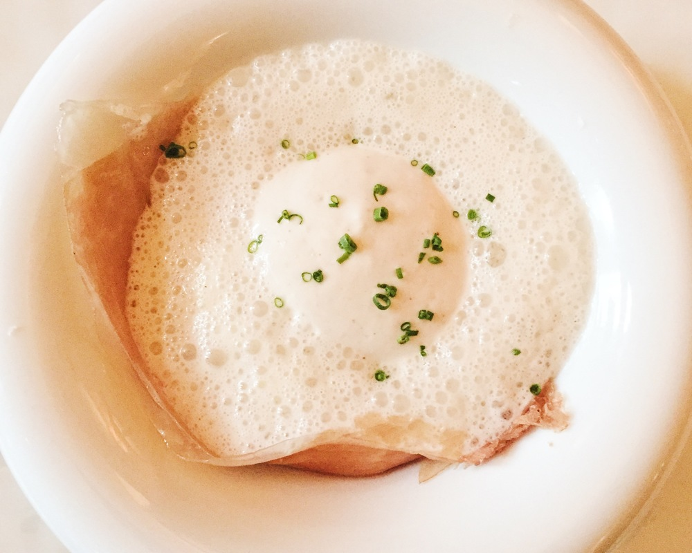 Organic Connecticut Farm Egg- Serrano ham, steamed polenta, artichoke, sunchoke, coconut garlic broth
