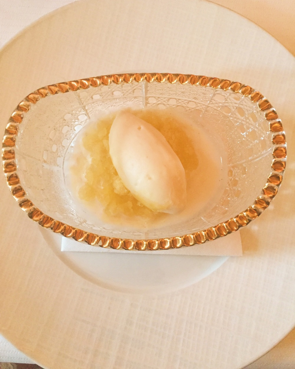 Pineapple and coconut sorbet palate cleanser