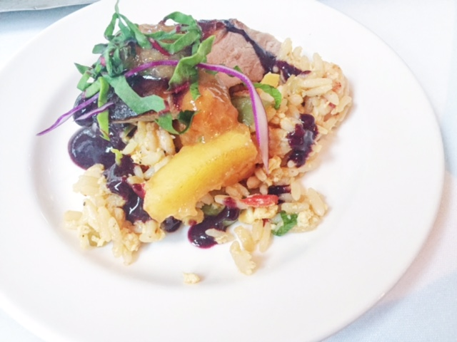 Honey Roasted Crispy Duck with Crawfish fried rice