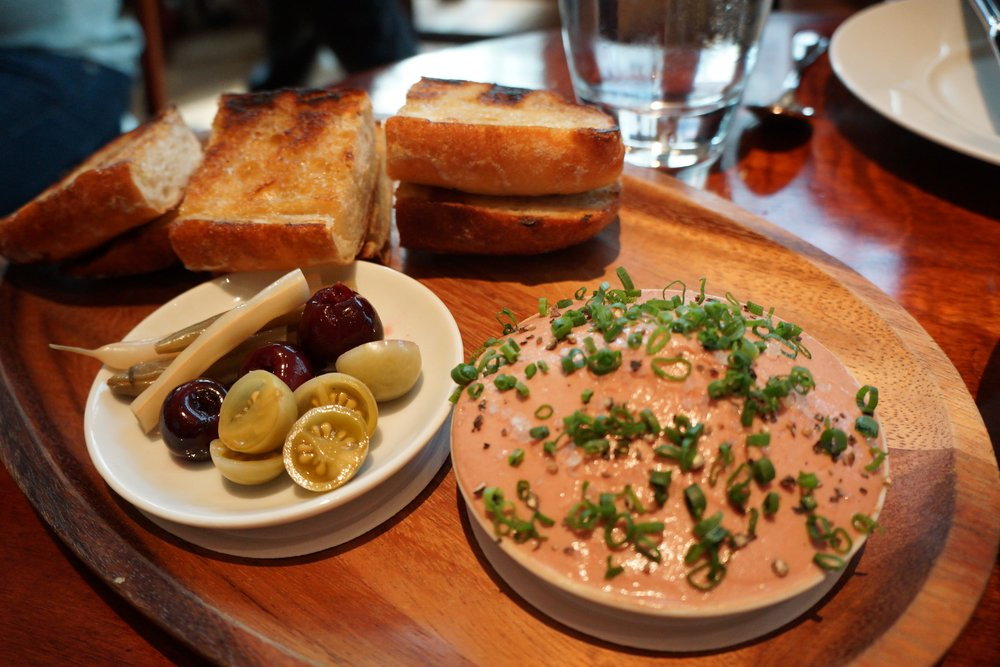 Amy was hesitant about the pate as she thought it would be too heavy. It's not. Light and savory, with delicious pickled veggies and sweet cherries.