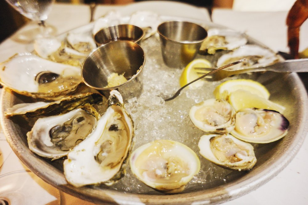 Raw oysters and clams
