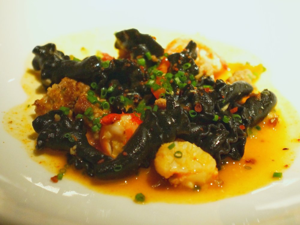 Squid Ink Campanelle - Lobster, Chorizo, and Peppers