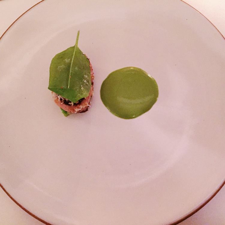 Foie Gras seared with Sorrel and fava beans