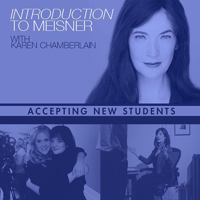 Karen Chamberlain's Introduction to Meisner class will be accepting new students until August 7th.  There's still time to register!  Class meets Mondays & Wednesdays 6-8pm  Visit Studio4ny.com to register!