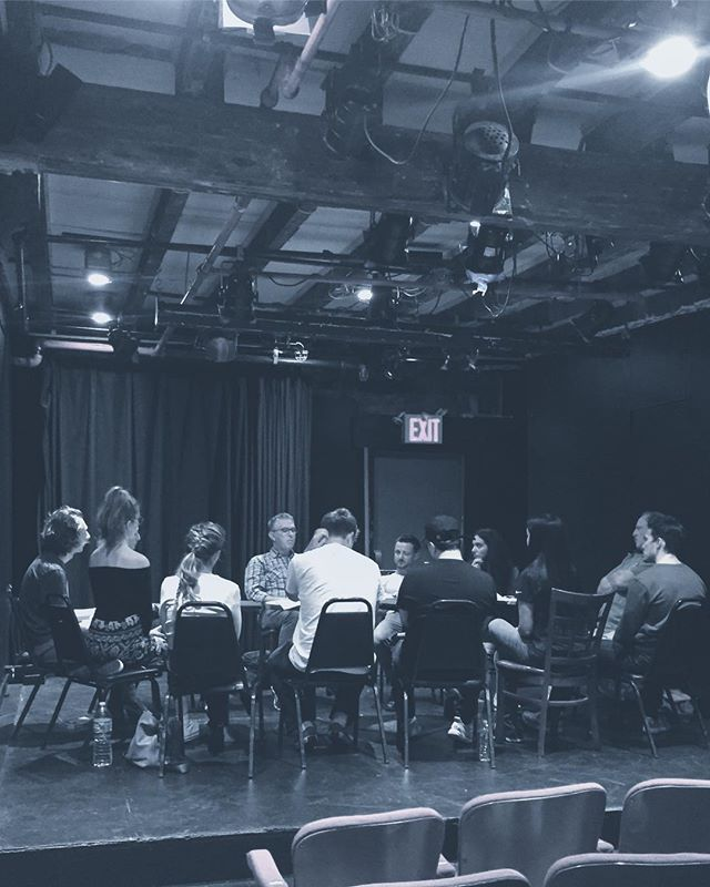 Students working on script analysis in our 8-Week Scene Study program.