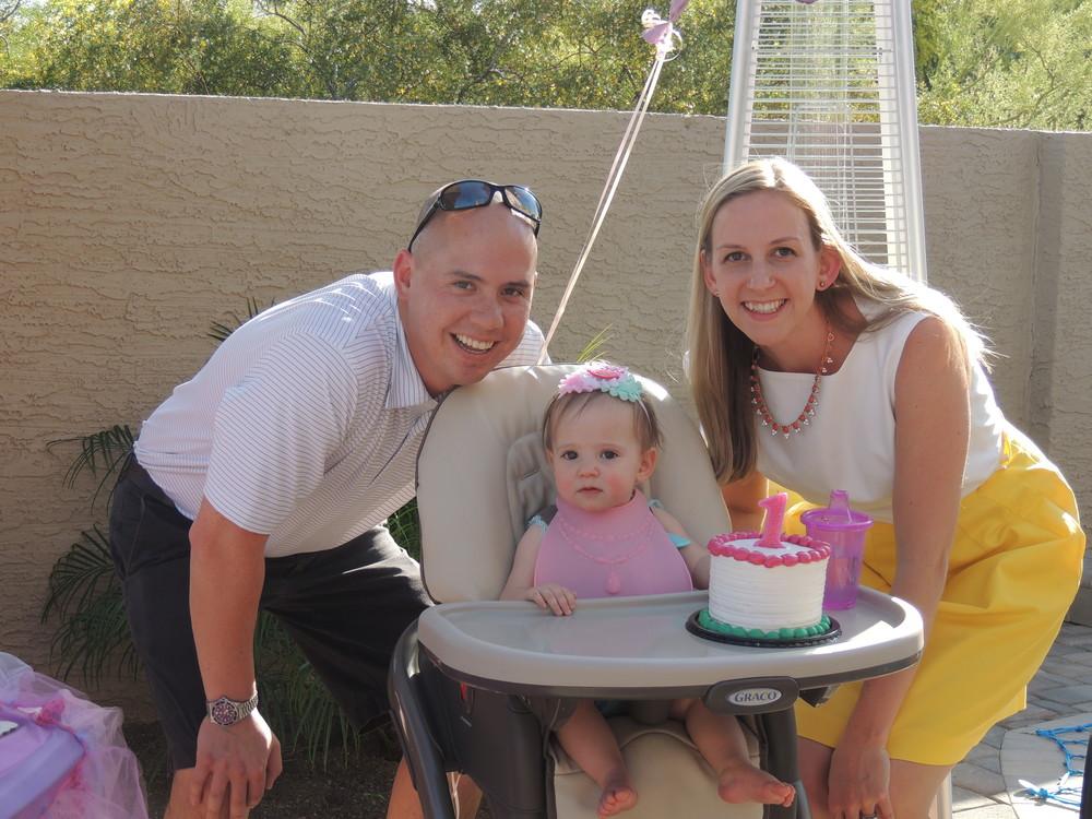 Greg, Tessa & Kendra Leisher at Tessa's 1st birthday party! (Photo provided by Kendra)