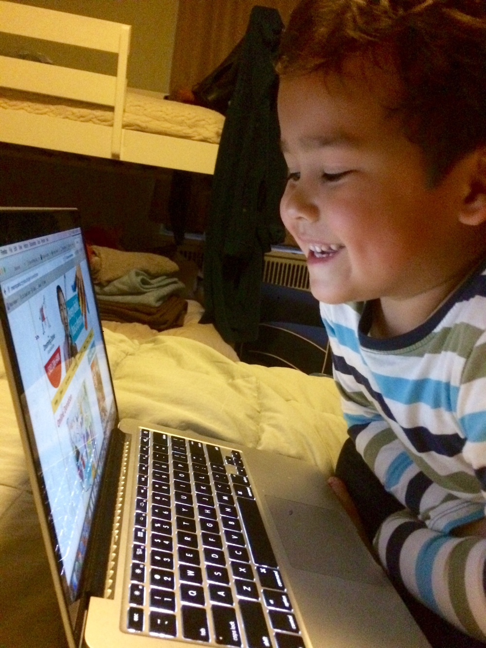 Milo, checking out The Dreaming Zebra Foundation website, just before we made our donation!