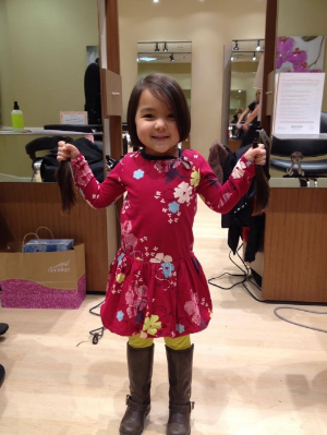 Lily's first time donating 10-inch ponytails!
