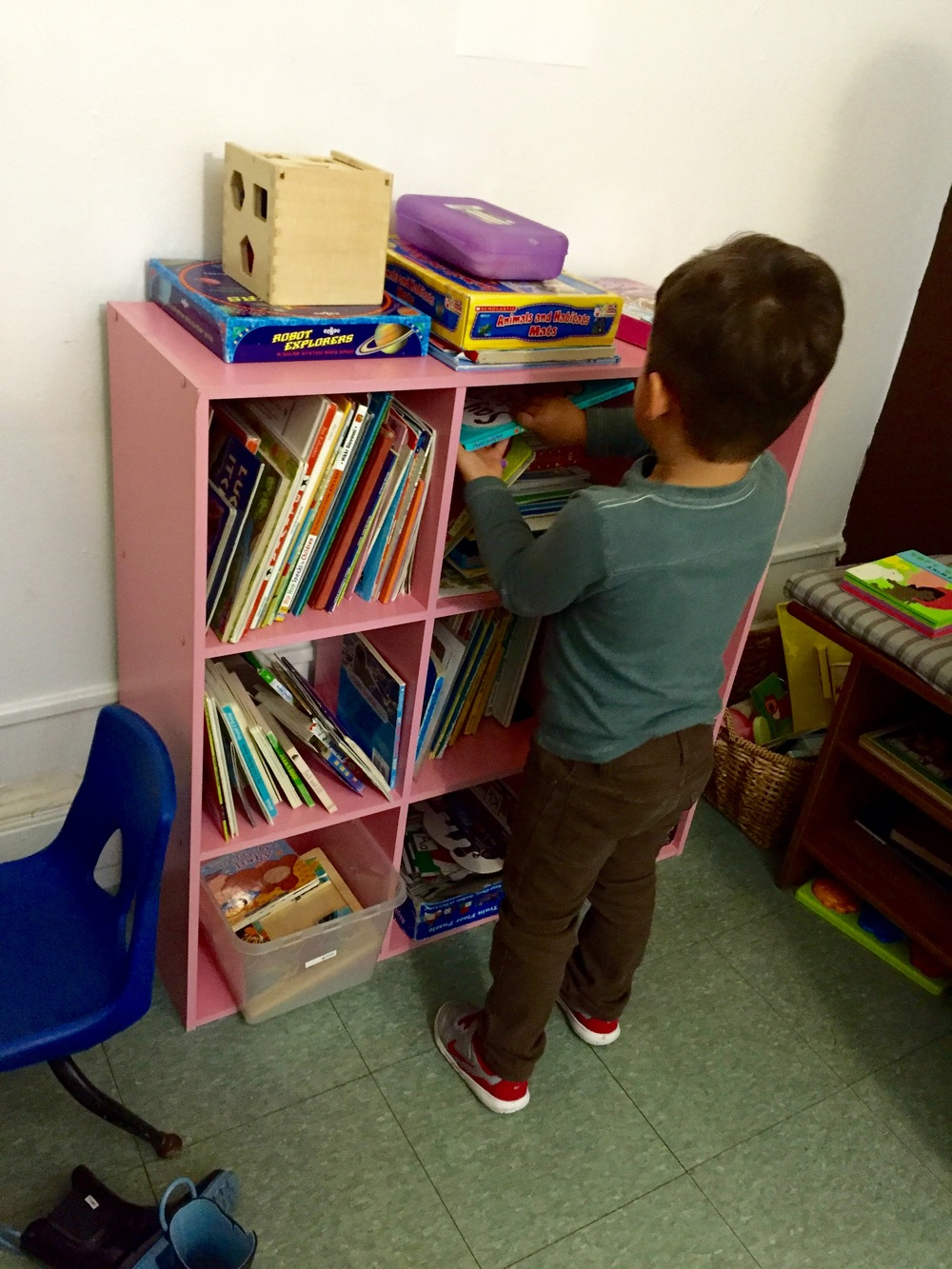 Taking used toys and books to a local medical office waiting room.