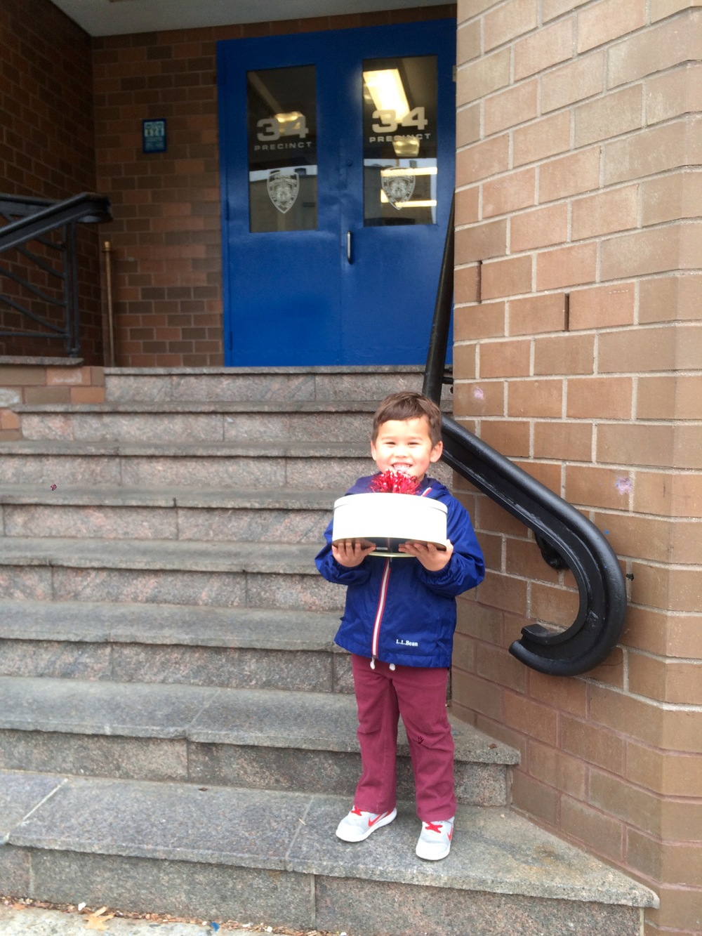 Taking homemade cookies to our local police precinct. They were so grateful and then gave the kids a tour of the police station and police cars/van!