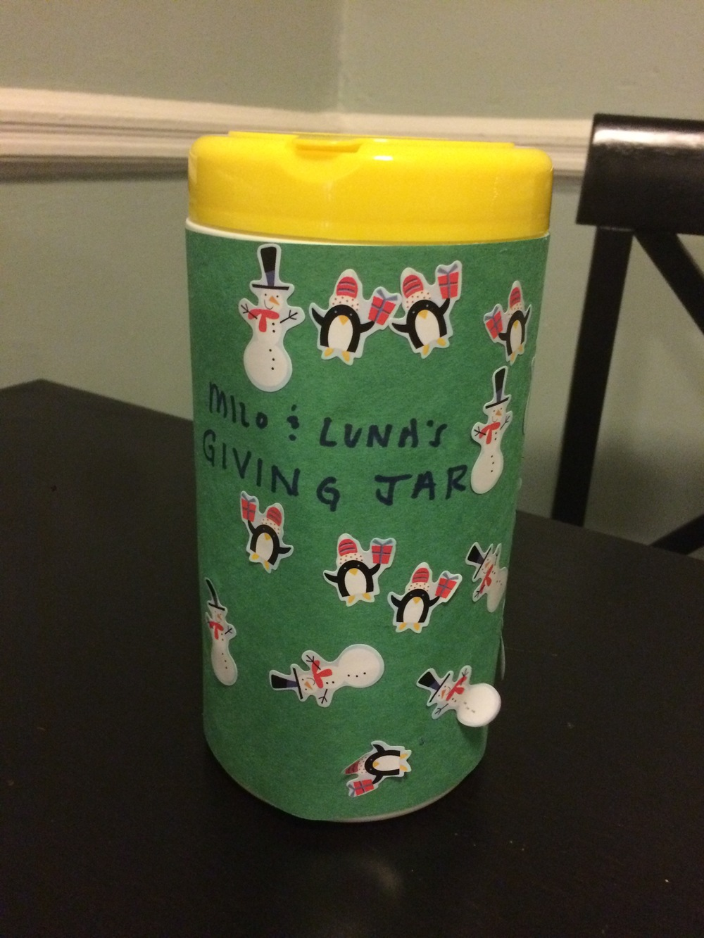 Creating a  Giving Jar  to collect money to donate.