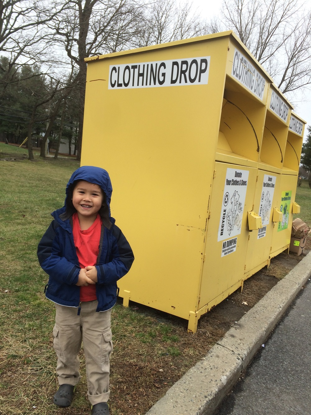 Donating used clothes.