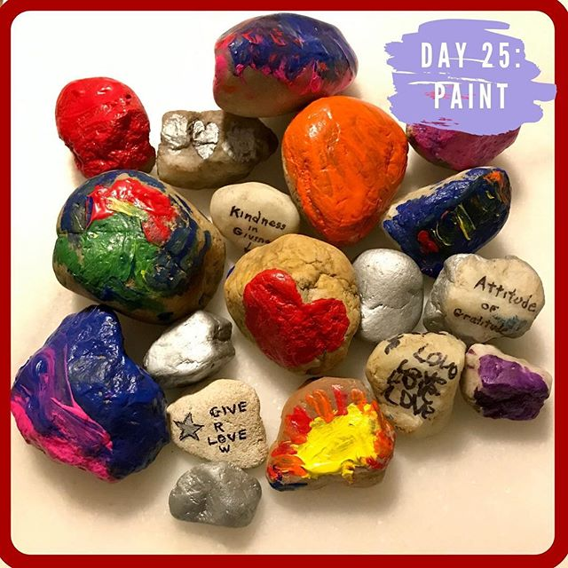 Day 25 of our givingPROJECT was incredibly simple and worked well on a day filled with so much excitement! The kids were asked to paint rocks with motivating or inspiring messages. There is a small group in our town who leaves painted rocks along the trails and in parks.  And I know that many towns across the US do the same (so keep your eyes peeled!). The kids have discovered (and collected 🤪) quite a few and we even came across one the other day on our trash pickup along one of the trails. The messages are simple and are often small painted pictures, but always bring a little joy to the person who discovers them. ***** While I cooked dinner, my husband and dad sat in the kitchen with the kids and they all painted and wrote on a bunch of rocks that were collected from our yard. They wrote sweet, inspiring messages and painted the rocks in bright colors. We will add more words to them once the painted rocks are dry. Sharpies are life! And then we will take them out to the trails to be found! ***** givingTIP: Giving doesn't always have to mean big gestures. Sometimes it can be small actions using what you have to brighten someone else's day. Merry Christmas to those who celebrate and Happy Giving! ❤️✨