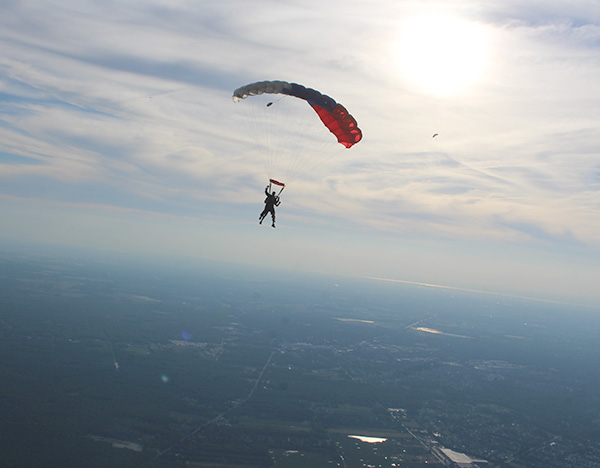 tandem skydiving with skydive cross keys