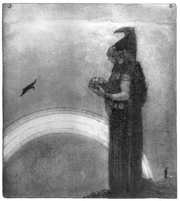 John Bauer,  Odin Speaks With Mimir's Head For The Last Time  (illus.), 1911