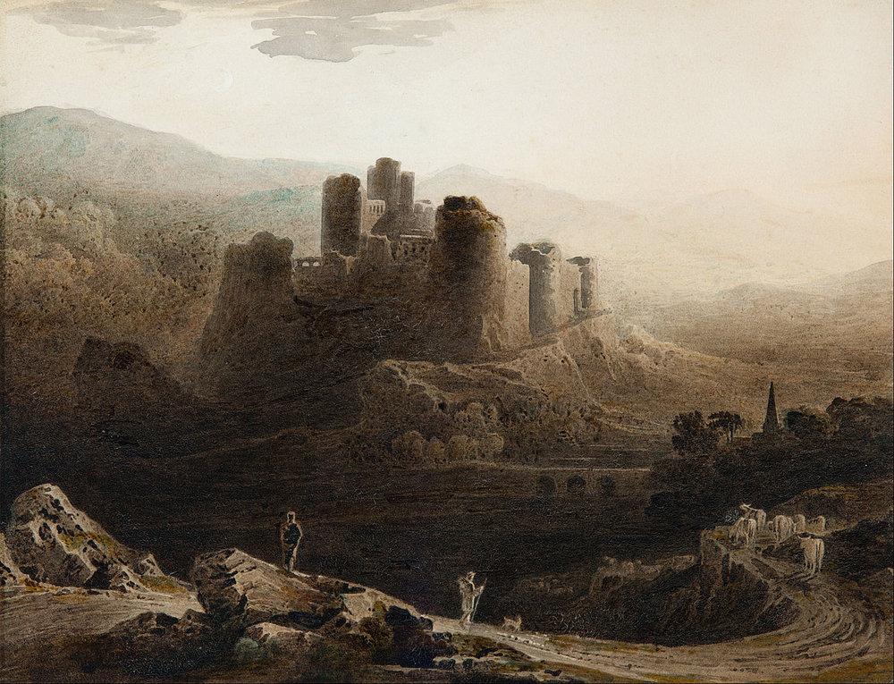 John Martin,  Moonlight - Chepstow Castle  (watercolour), 1815