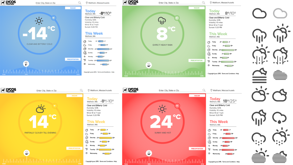 A weather module for Lycos that changes CSS based on the temperature and time of day.