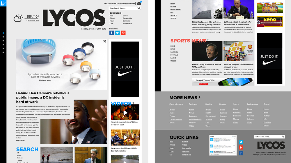Alternative branding and a new advertising based layout for Lycos.com