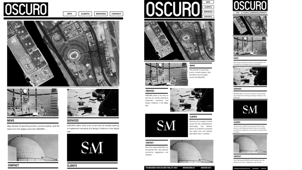 Fully responsive website for digital agency Oscuro NYC.