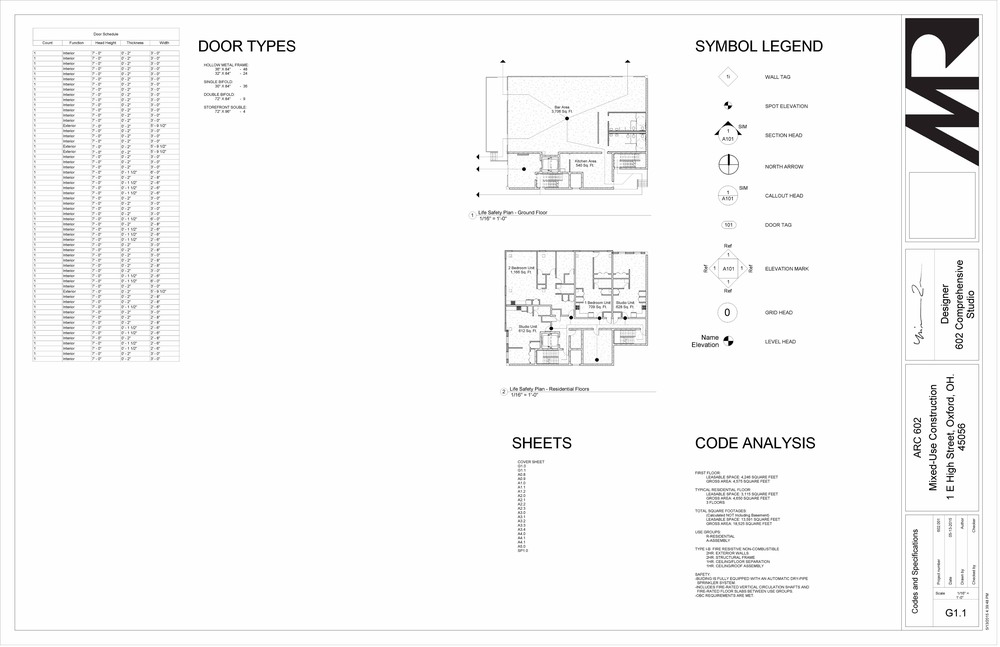 602 Studio - Sheet - G1-1 - Codes and Specifications.jpg