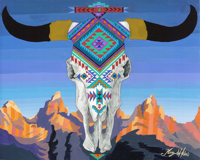 Jina Kim - Bison Skull with Wide Horns and Tetons