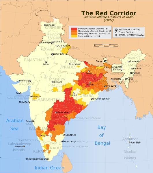 "Map of India's ""Red Corridor"""