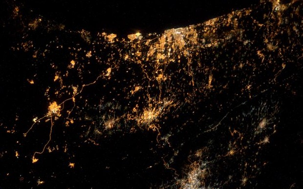 Gaza from the International Space Station {Photo Credit: theindependent.co.uk, @astro_alex}
