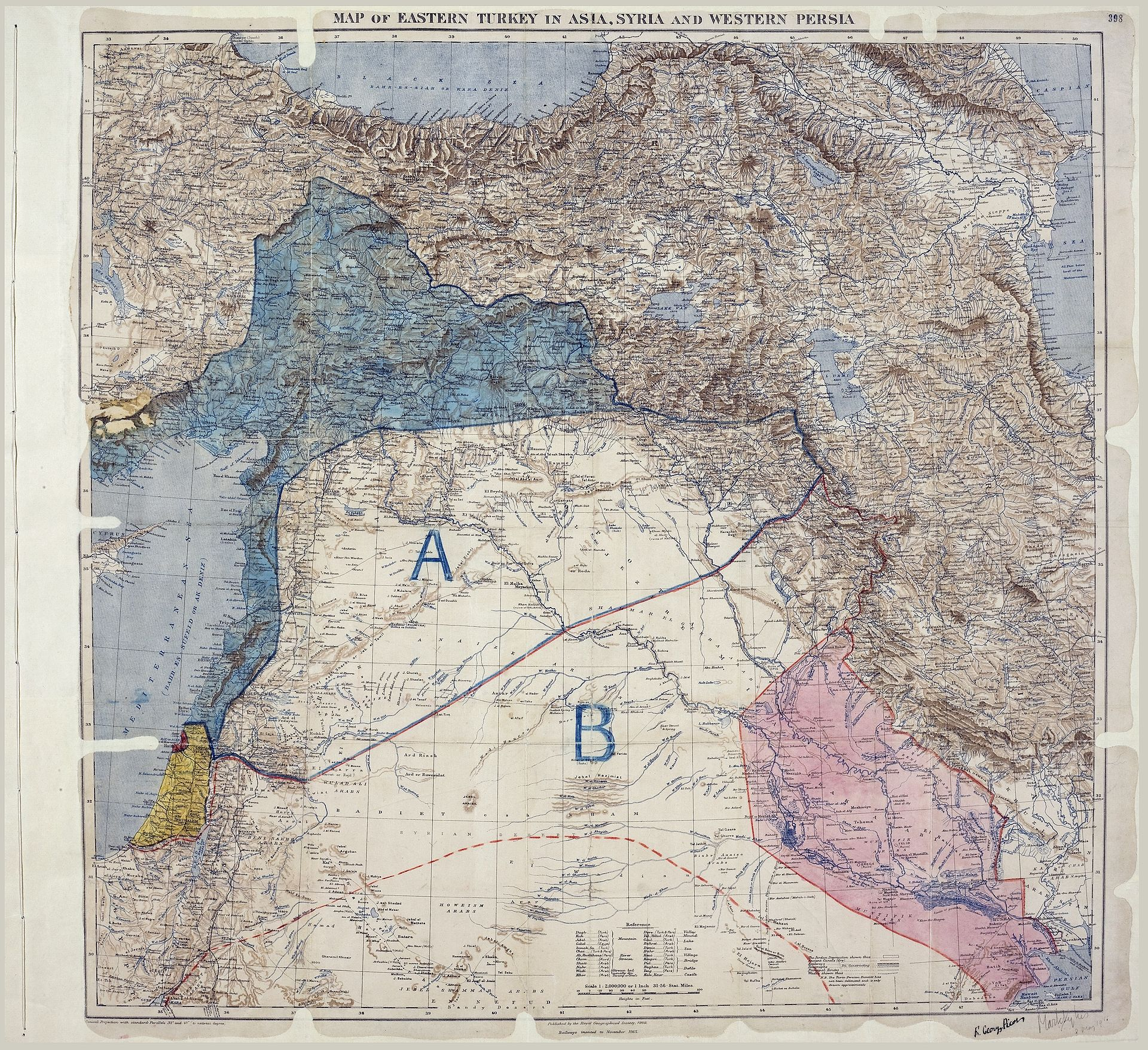 MPK1-426_Sykes_Picot_Agreement_Map_signed_8_May_1916