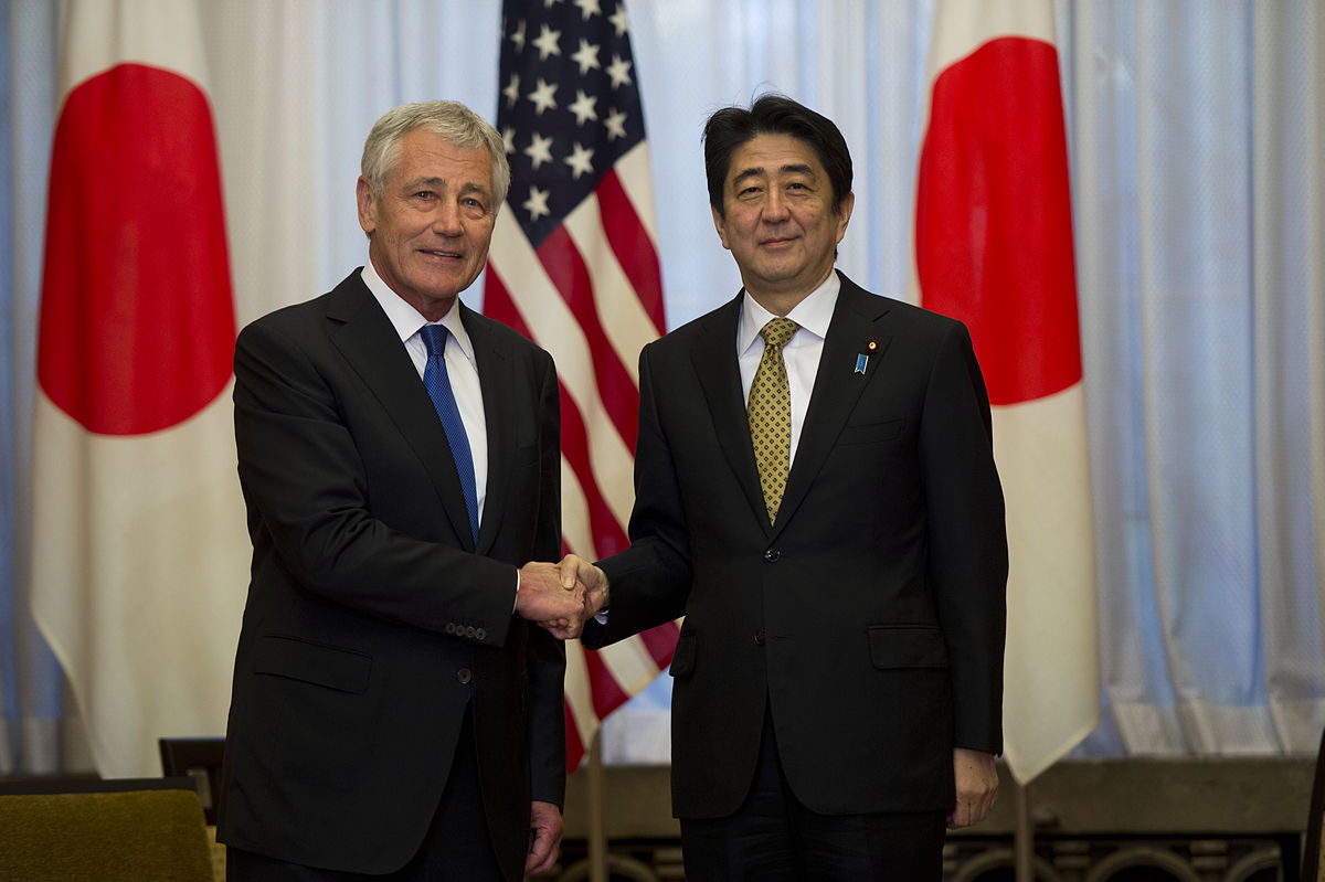 """Chuck Hagel and Shinzō Abe, April 2014"" https://www.flickr.com/photos/secdef/13649632865/. Licensed under Creative Commons Attribution 2.0 via Wikimedia Commons"