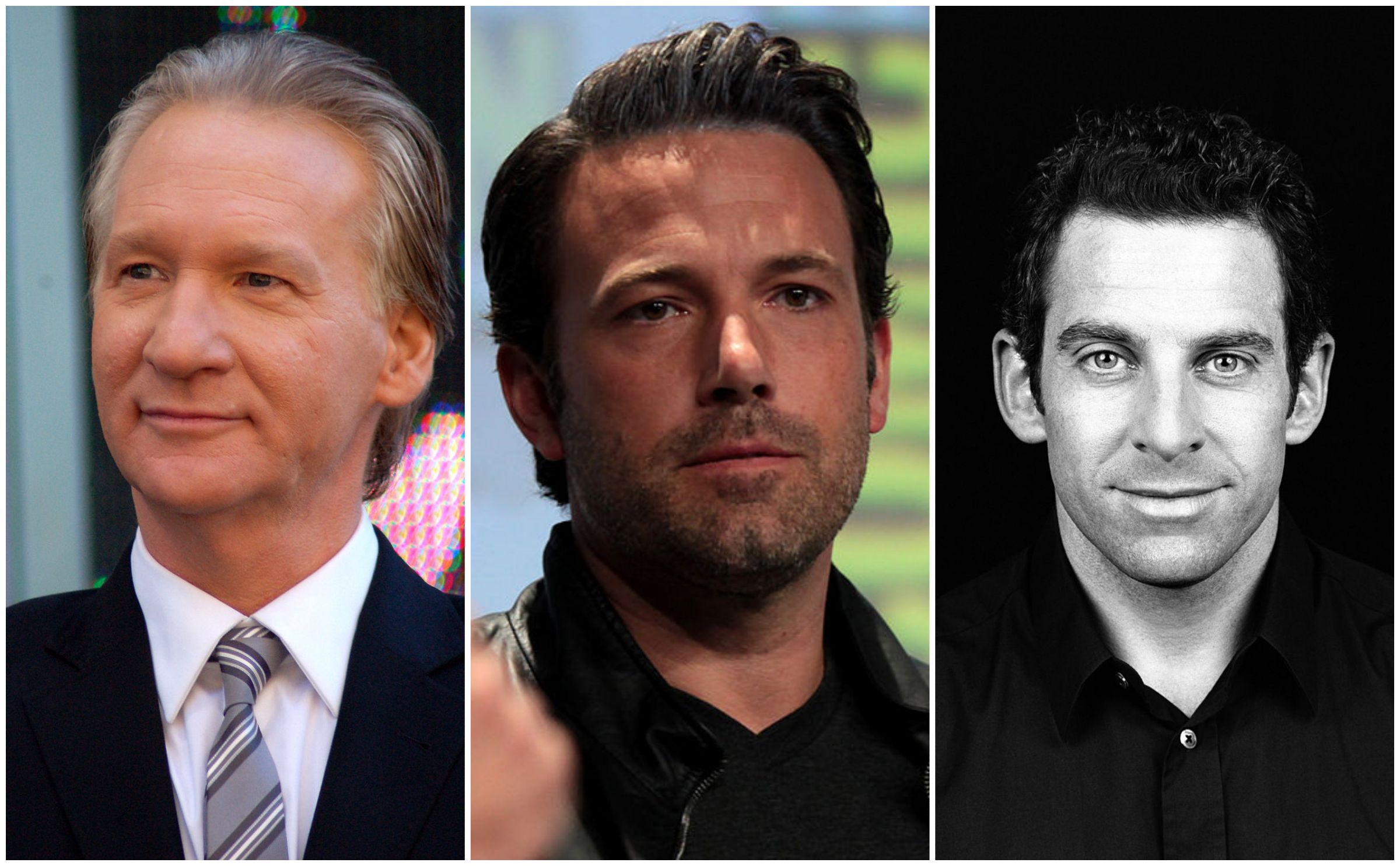 """Ben Affleck"" by Gage Skidmore [CC-BY-SA-2.0] ""Bill Maher"" by Angela George [CC-BY-3.0] Sam Harris [GFDL (http://www.gnu.org/copyleft/fdl.html) or CC-BY-SA-3.0"