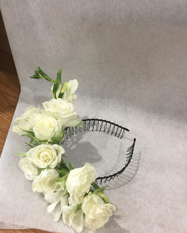 Pre wrapping of a gorgeous white headband today #flowercrowned #hairflowers #pretty #whitebeauty