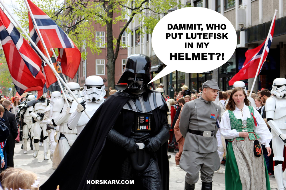 darth vader meme lutefisk helmet norway parade stormtrooper norskarv alt for norge