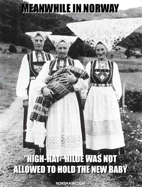 meanwhile in norway meme high-hat hilde was not allowed to hold the new baby norwegian norway norskarv alt for norge