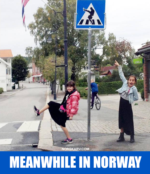 meanwhile in norway meme alt for norge norwegian monty python john cleese minister of funny walks girls street sign